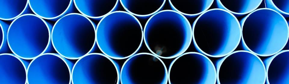 blauwe rioolbuizen